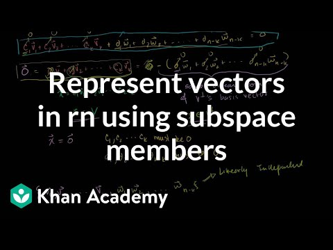 Representing vectors in rn using subspace members | Linear Algebra | Khan Academy