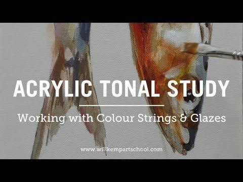 Acrylic Still Life Study of a Fish using Acrylic Glazing Techniques