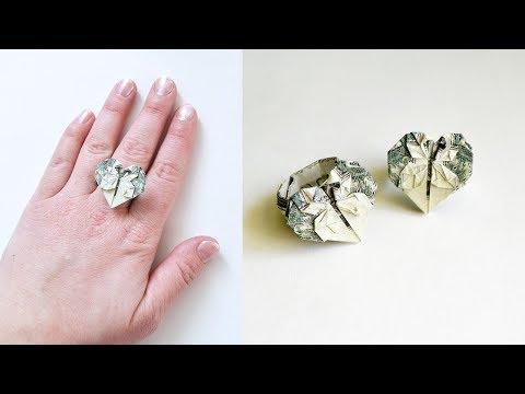 Money RING HEART Origami Dollar Tutorial DIY Folded No glue Gift for Graduation