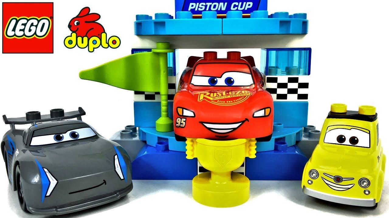 Lego Duplo Disney Cars 3 Piston Cup Wette Mit Lightning Mcqueen Jackson Storm Luigi Unboxing