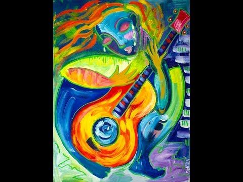 Easy Abstract Figure Paint for Beginners Acrylic Painting 🎸 Tutorial