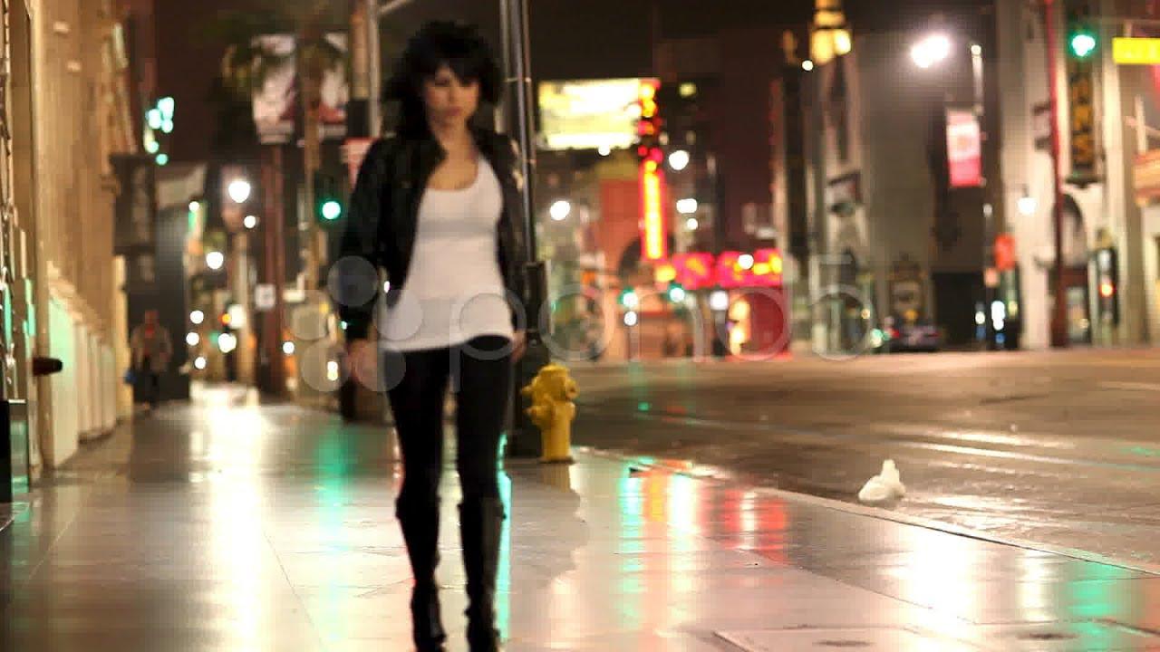 Woman Walking City Street At Night. Stock Footage - YouTube
