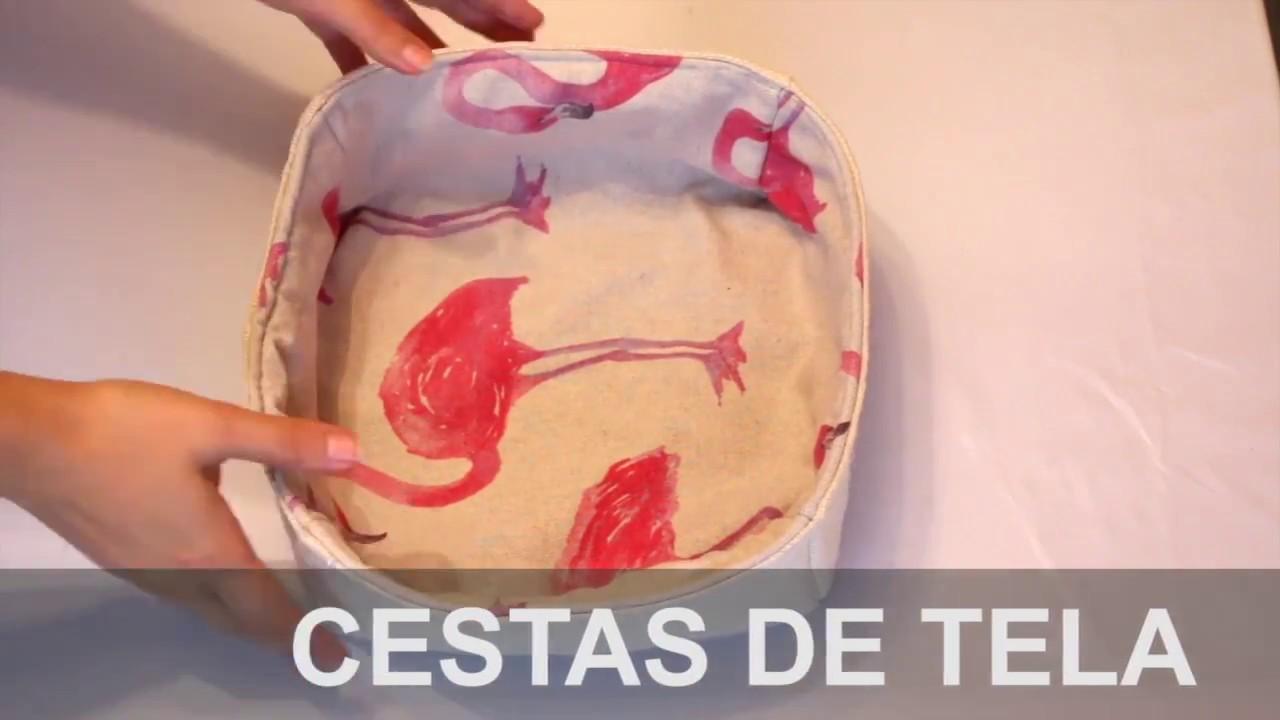 Diy c mo hacer una cesta de tela 123vid - Cestos de tela ...