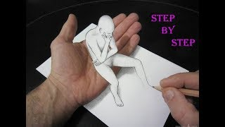3D Trick Art How To Draw 3D Drawing Tutorial - Step By Step -3d models/easy drawings/drawing lessons