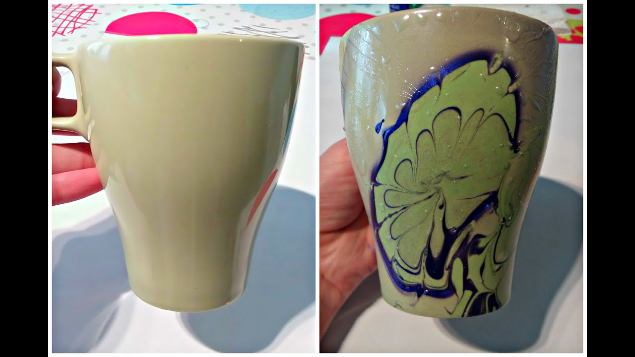 Easy diy coffee mug painting water marble tutoriale crix for How to paint a mug