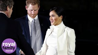 The Duke and Duchess of Sussex arrive at the Natural History Museum for a glam gala performance
