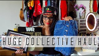 HUGE COLLECTIVE THRIFT HAUL + TRY ON! | vinyl, room decor, clothing!