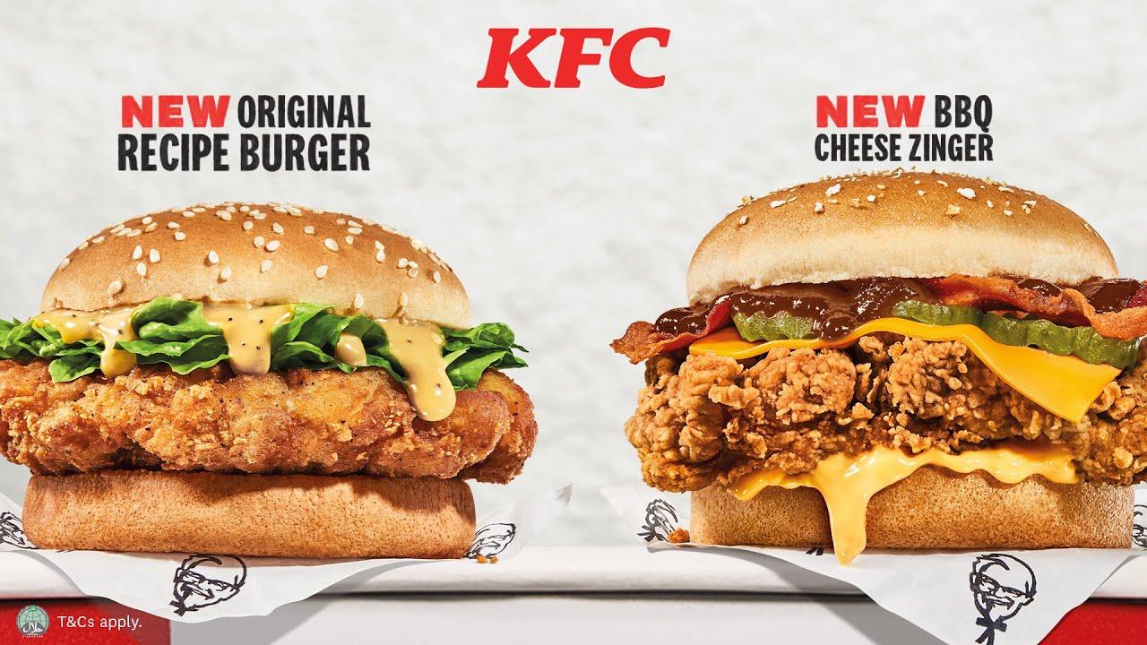 NEW KFC Burgers - Original Recipe Burger & BBQ Cheese Zinger