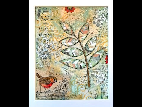 Mixed Media Collage - Leaves & Bird