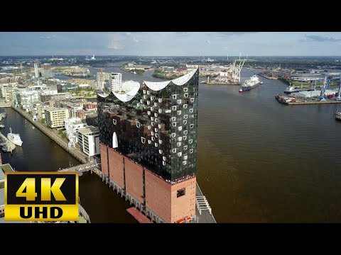 Elbphilharmonie Hamburg  4k Aerial view