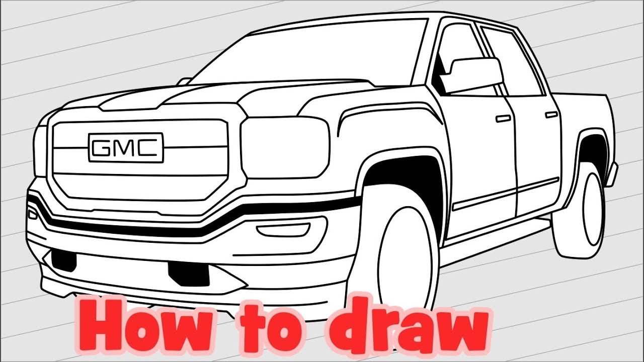 Sketch Car Drawing Gmc Sierra 1500 Denali 2018 Pickup Truck Youtube