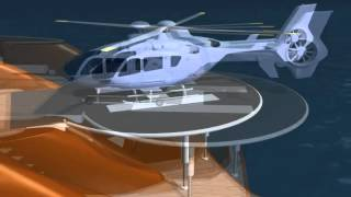 Revolutionary helicopter hangar and landing platform for super yachts