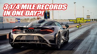 BREAKING THE MCLAREN 765LT WORLD RECORD 1/4 MILE TIME *3 TIMES IN ONE DAY*  W/ Shmee150 & Dragtimes!