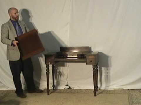 Solid Mahogany Flip Top Spinet Desk With Drawer Antique