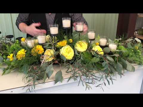 Table centerpiece with candleholder
