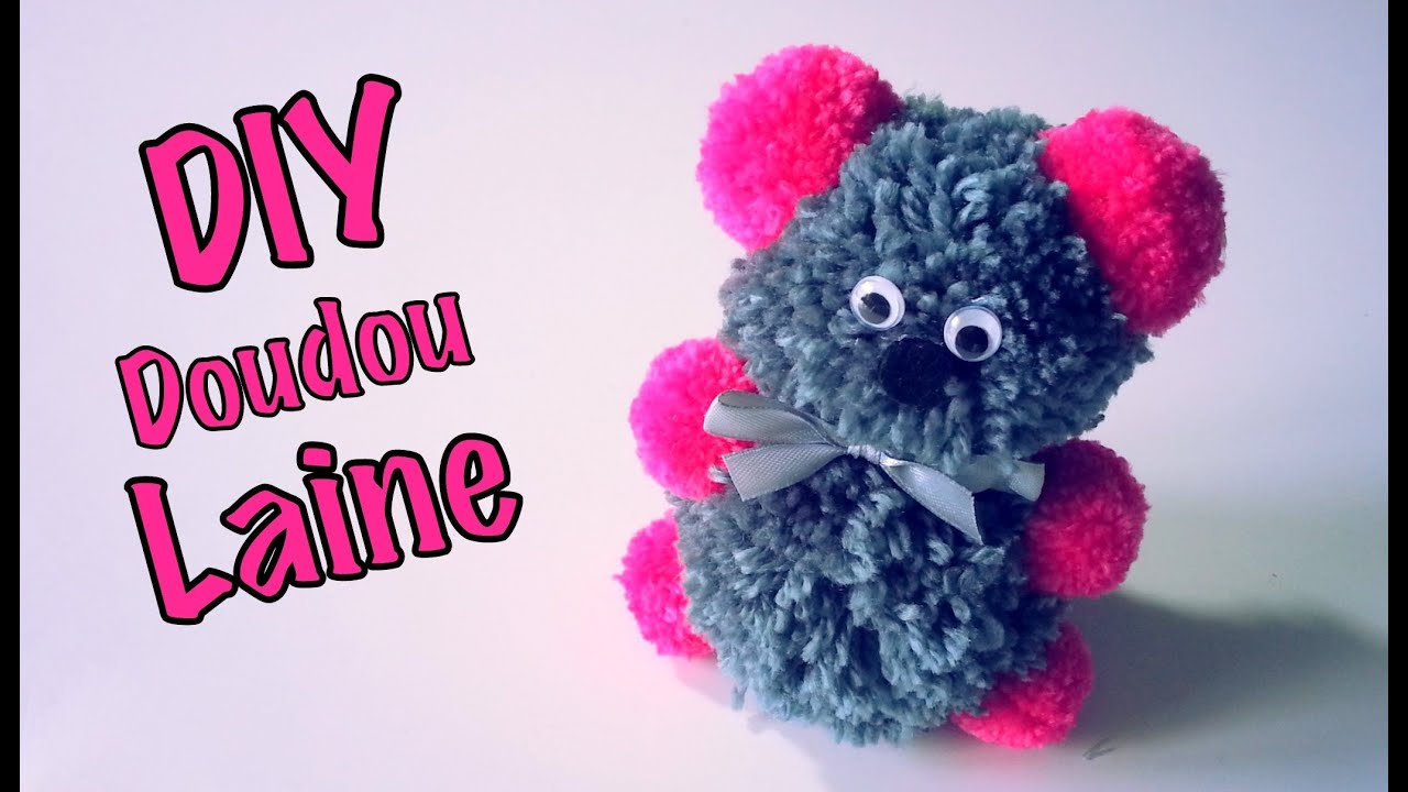 diy doudou peluche saint valentin en laine pompons youtube. Black Bedroom Furniture Sets. Home Design Ideas