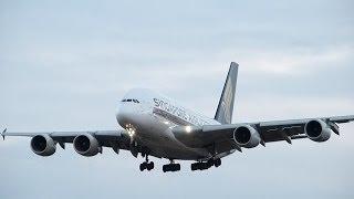 超巨大旅客機 エアバスA380の着陸シーン