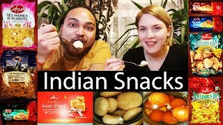 Indian Snacks Reaction | Foreigner tries Indian Snacks & Sweets