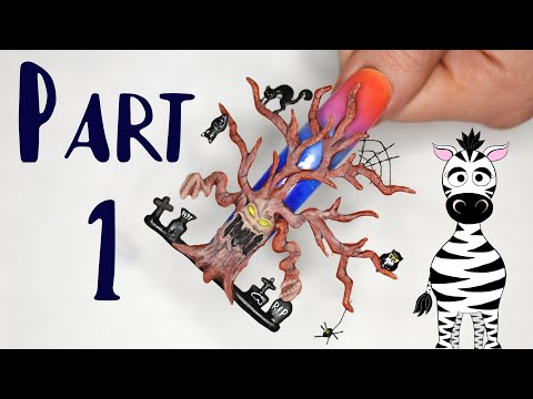 Extreme 3D Spooky Tree PART 1 Acrylic Nail Art Tutorial | Background and Tree thumbnail