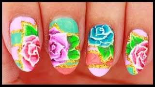 Roses on Colorful Pastels nail art