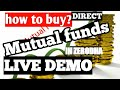 How to buy mutual funds online Hindi zerodha..LIVE DEMO.|.Buy Direct | how to start mutual funds SIP