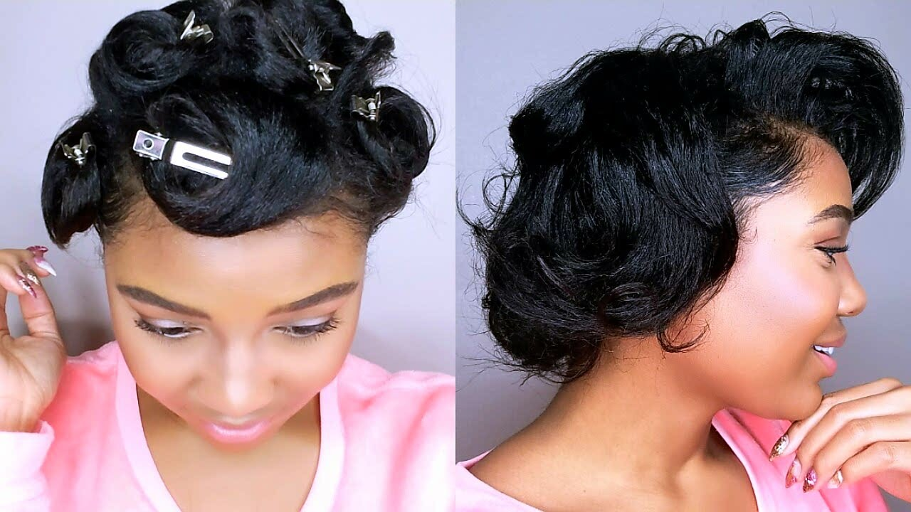 How To Style Short Relaxed Hair Pin Curls Tutorial Heatless Curls Youtube