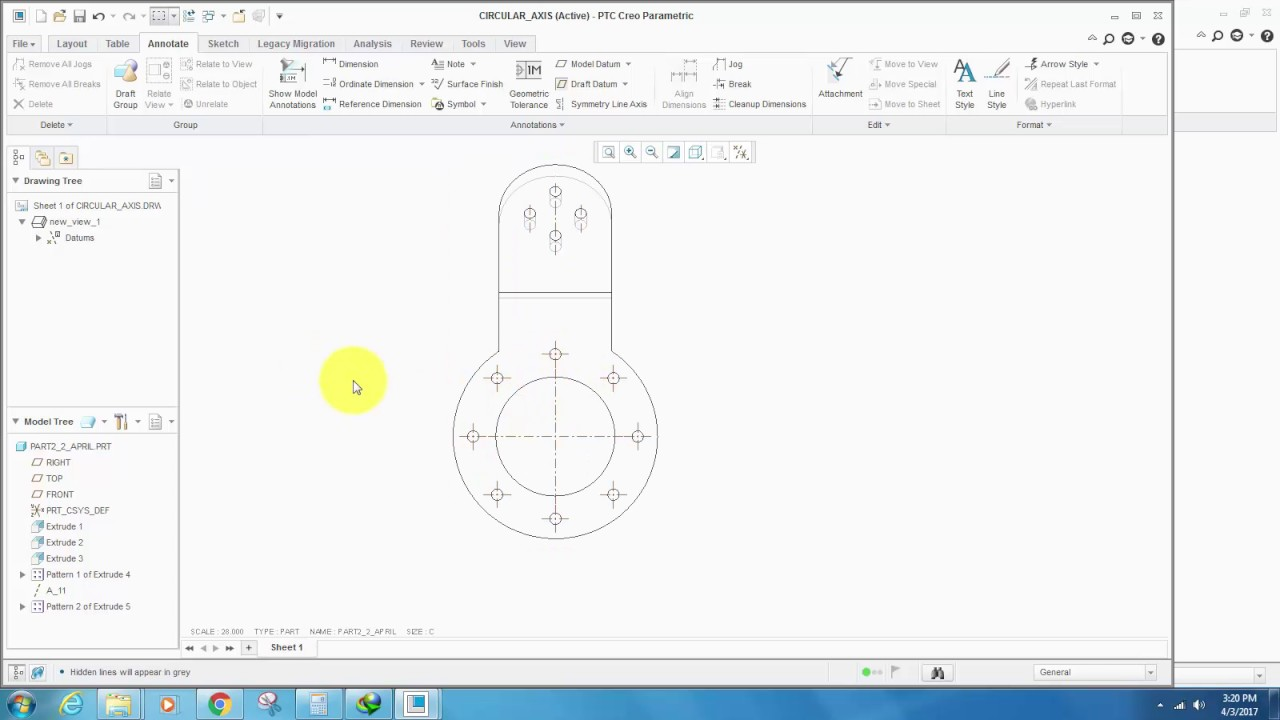 Creating A Reference Circle In Creo Drawing