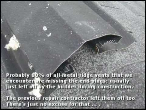 Roof Ridge Vent Repair In Maryland Md Youtube