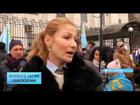 Russia's Tatar Crackdown: Crimean Tatars picket Russian embassy over repressions