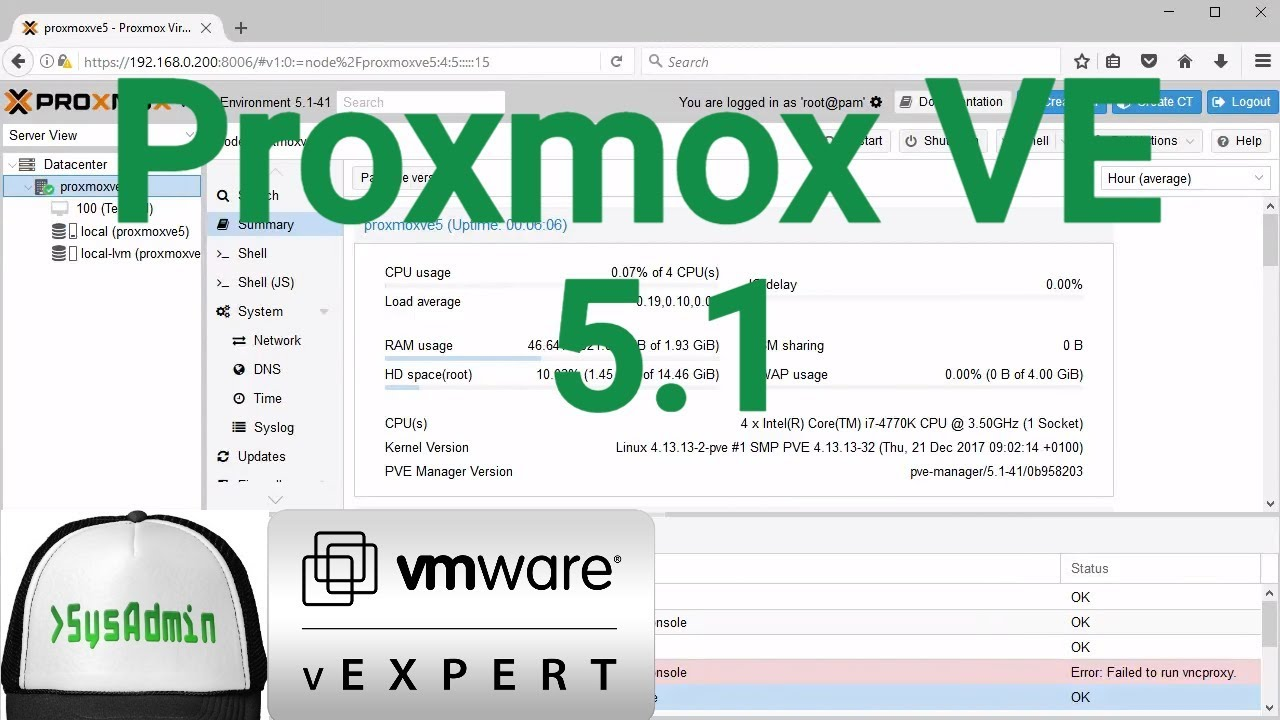 How to Install Proxmox VE 5 1 + VMware Tools + Review on VMware Workstation  [2018]