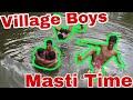Taking Bath In Pond With Fun    Village Boys    Masti Time    Bangla Vlog    Bapis World