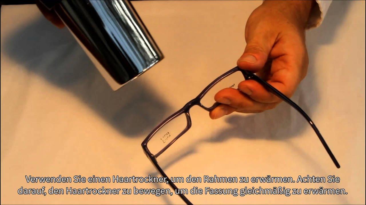 Korrektur eines schiefen Nasenstegs bei Brillenfassungen aus Acetat ...