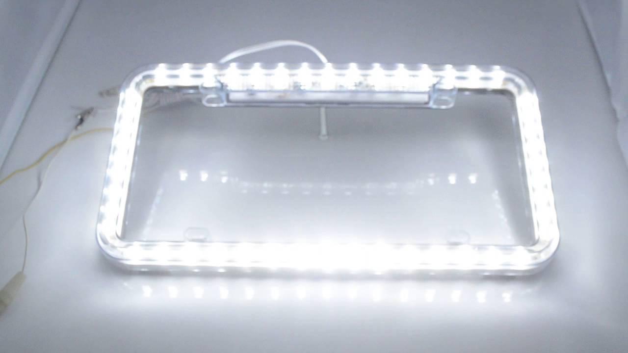 Neon License Plate Frame WHITE LED
