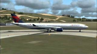Delta flight 133 departs Athens enroute to New York JFK (FS2004)
