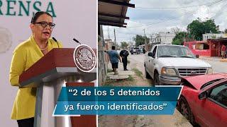 Rosa Icela Rodríguez, titular de la SSPC, detalló los avances en la investigación de la masacre ocurrida en Reynosa que dejó 15 civiles muertos