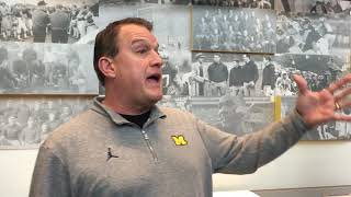 Michigan offensive line coach Ed Warinner meets with media before MSU week