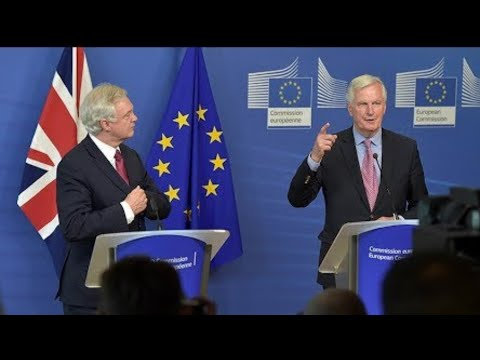 Brexit Secretary David Davis and EU's Michel Barnier Press Conference