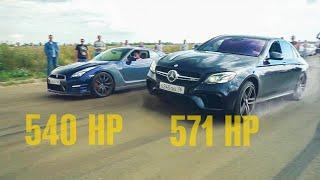 Выпрыгивающие Mercedes 63 AMG и  против Nissan GTR и ЛЮТЫЙ SUBARU WRX STI