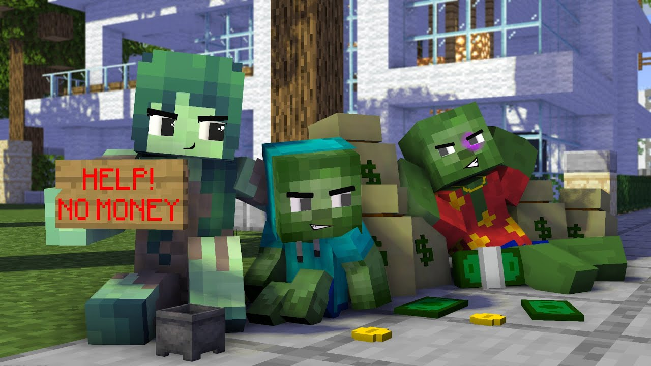 Minecraft, Bad ZOMBIE Family   Sad Story Monster school Animation