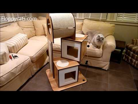 Hagen Vesper Cat Furniture V-Tower Cat Tower Arrives for Review - Modern Cat Tree - Floppycats