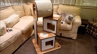 Hagen Vesper Cat Furniture V-tower Cat Tower Arrives For Review - Modern Cat Tree - Floppycats