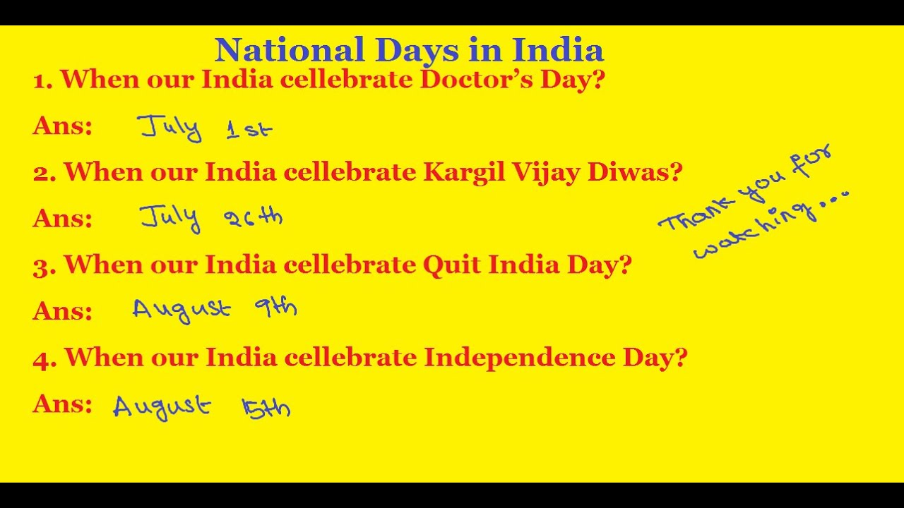 General Knowledge Questions And Answers | National Days in India | Doctor's  Day