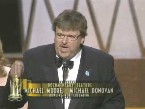 """Michael Moore winning an Oscar® for """"Bowling for Columbine"""""""