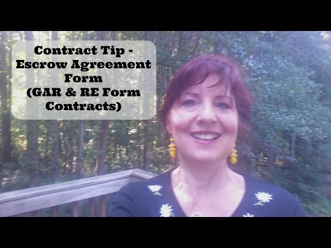 Contract Tip - The Escrow Agreement Form (GAR & RE Forms)