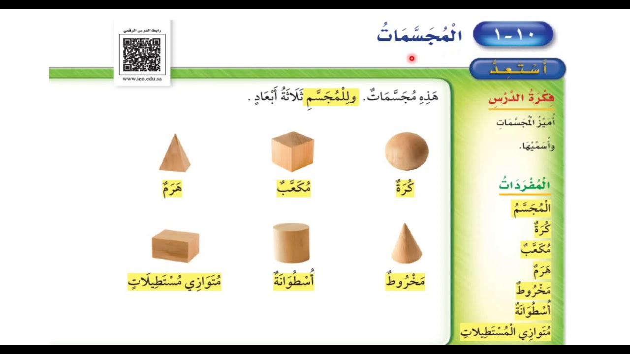 المجسمات - رياضيات الصف الثاني ابتدائي الفصل الدراسي الثاني