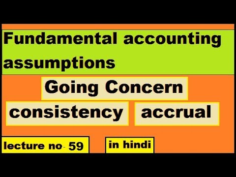 Fundamental accounting assumptions Going Concern consistency accrual system  class 11th CPT in Hindi