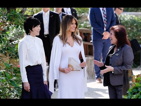 Melania Trump And Akie Abe Meet In Florida, FLOTUS Stuns In White Dress