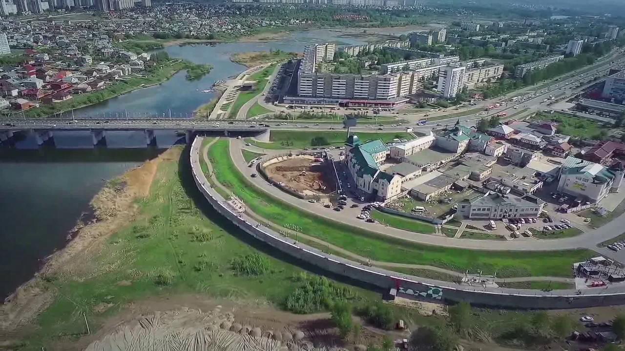 Аэросъемка, Набережные Челны , набережная ГЭС. - YouTube