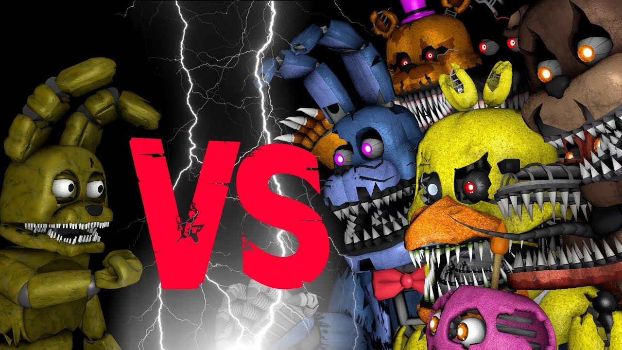 Plushtrap Vs Nightmare Freddy Bonnie Chica Foxy Fredbear FNAF - 27 places stuff nightmares made