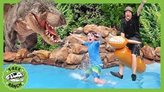 Giant T-Rex Dinosaur at the Pool! Dinosaurs for Kids Showdown with Water Inflatables & Bubble Toys